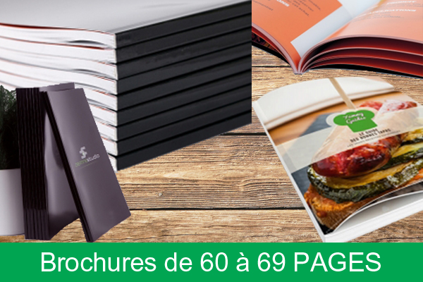 Brochures dos carré collé de 60 à 69 pages