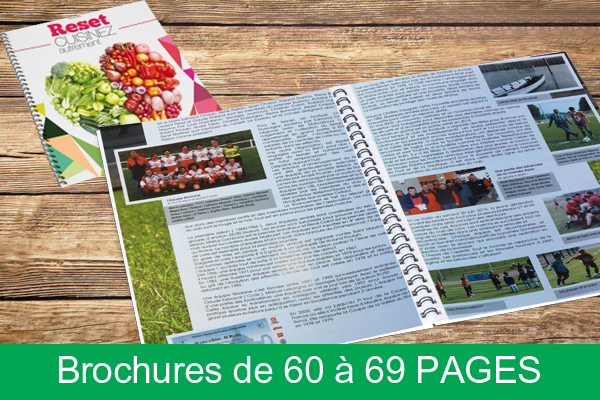 Brochures spirales de 60 à 69 pages
